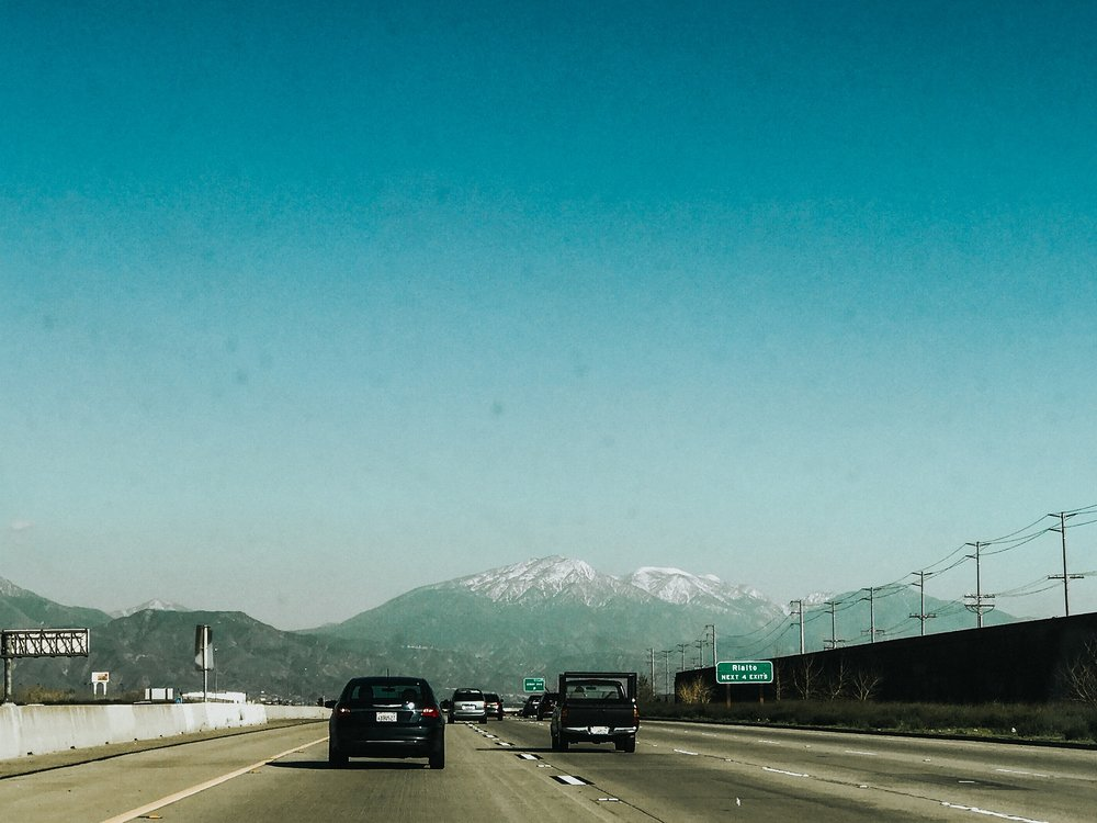 Headed through San Bernadino towards the snowy mountain tops.