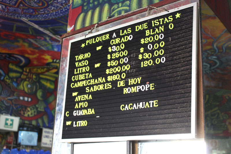 Above: The sign at the pulquería that shows the types served as well as the prices that differ depending on the size. We were able to draw here because we bought the pulque, and at a non-busy hour that wouldn't disrupt business.