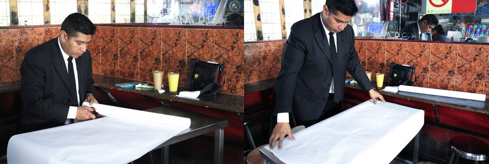 Above: Cesar laying out the bond paper, measuring it against the table, then cutting a piece that he could enjoy drawing on but won't take too much time or space, another quick yet meticulous process of preparation.