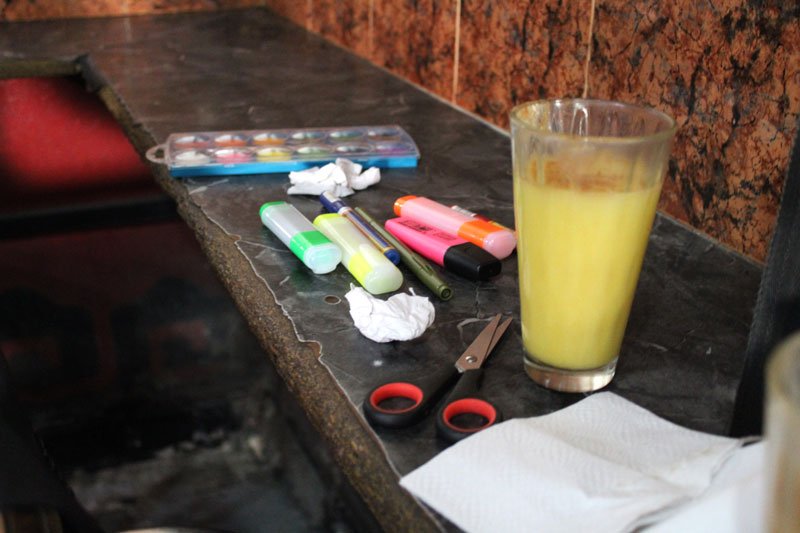 Above: Tools for drawing included various markers and acrylics, although acrylics were only used in the very last drawing later in the day.
