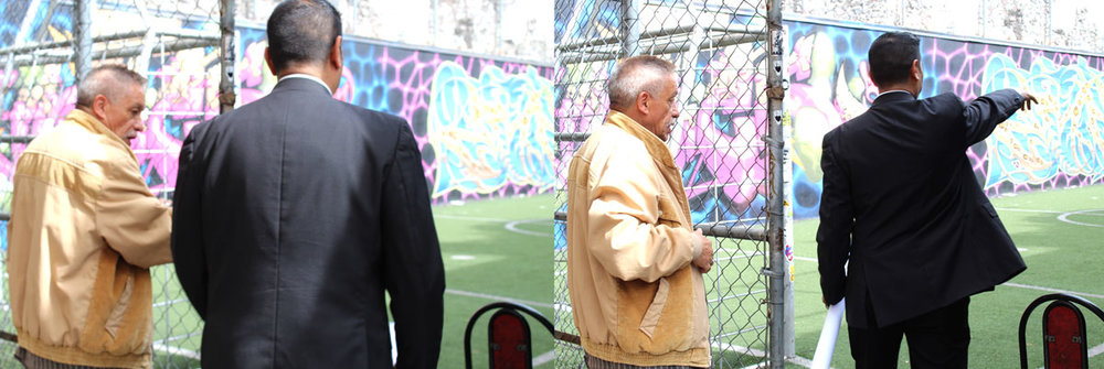 Above: Cesar and the supervisor before and after he enters the soccer field. Even from the body language you can tell how he is more confident and assertive about how he will use the space the moment he enters it.