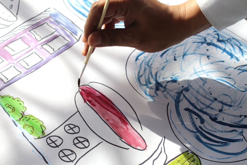 "Above: Amazing blends of watercolors that Cesar used to illustrate his speculative ""Ciudad de la comida"" (City of Food)."