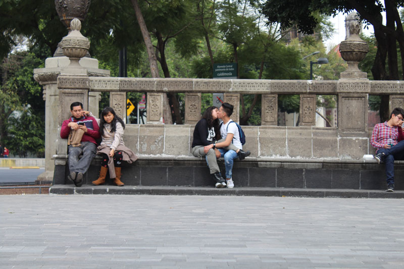 Above: The bench next to the kiosk is a popular spot as well, and during the duration of our performance which lasted around 2 hours, some people stayed while others left. People negotiate agency through courtesy and respect.