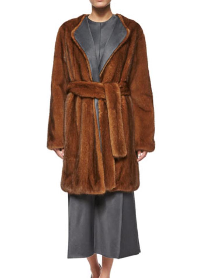 The Row Narston Mink Fur Tie-Waist Coat, Copper