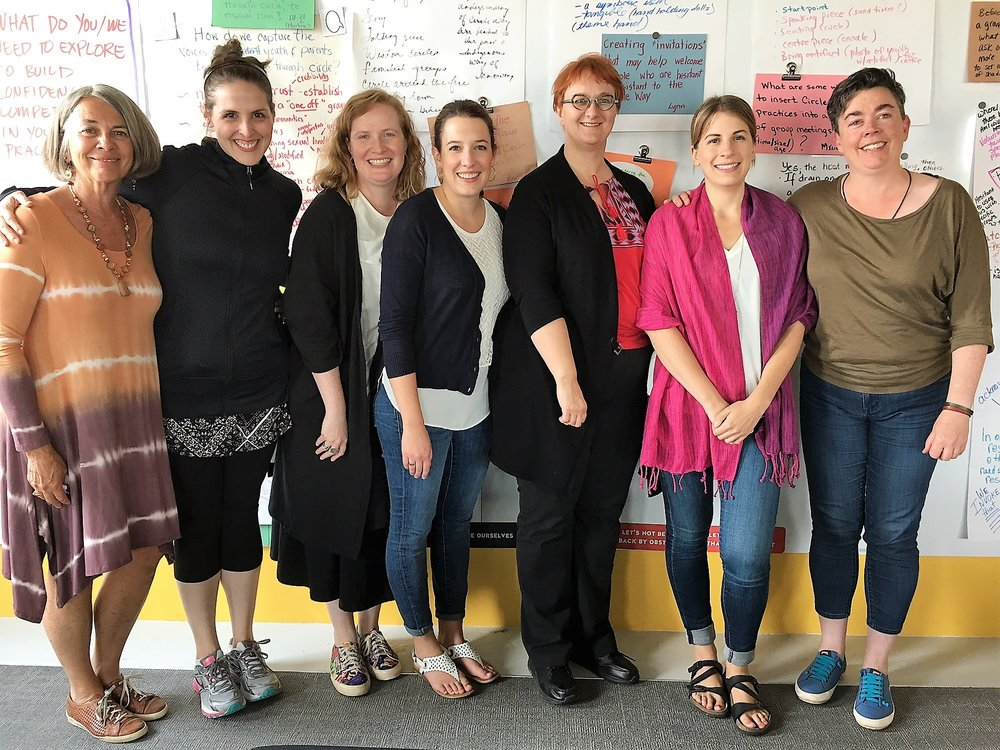 From left to right:  Katharine Weinmann (The Circle Way trainer), Stephanie Foremsky (EPL Librarian), Carla Iacchelli (EPL Librarian), Elisa Wilson (EPL Librarian), Karla Palichuk (EPL Librarian), Miranda Koshelek (EPL Librarian), Beth Sanders (The Circle Way trainer)