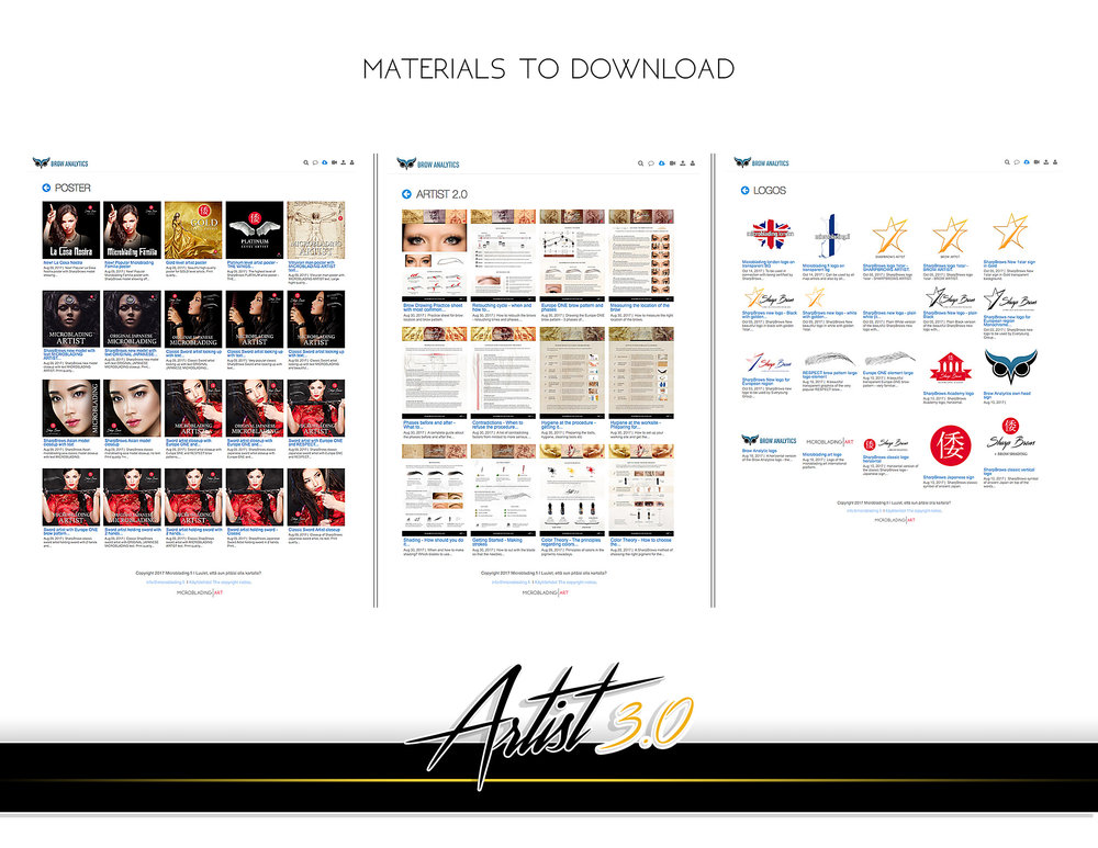 Brow Analytics download section includes all the information you need to get started with microblading business: contracts, reminders, before-after suggestions, marketing materials, high quality posters, logos etc.