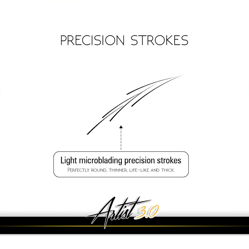 Precision stroking technique has enabled to achieve perfectly natural results so that microblading result could not be detected from natural hair. Even if the pattern is made considerably thicker, lines are thinner with more pigment in the skin, those are more durable and won't spread.