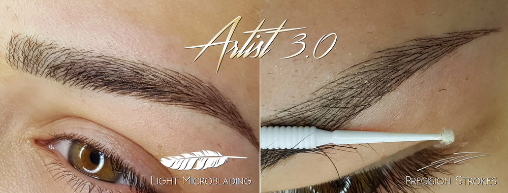 Light microblading and Precision Strokes ⓒtechnique allows to achieve results where strokes are undetectable from real hair. That is the gold-standard of nowadays modern microblading and represents what should be the ultimate goal of every artist. In many cases both brows are modified separately completely based on natural human hair growth using the SharpBrows Master Portfolio stoke-pattern selection. The results are so natural that often even professionals can not detect that microblading has been done to the client no matter the distance from which the result is examined.