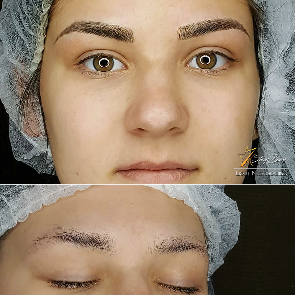 With the correct Light Microblading facial features of the client are changed completely. In this picture you can see incredible transformation that allows the eyes to dominate the face again and boost client's self-esteem greatly.
