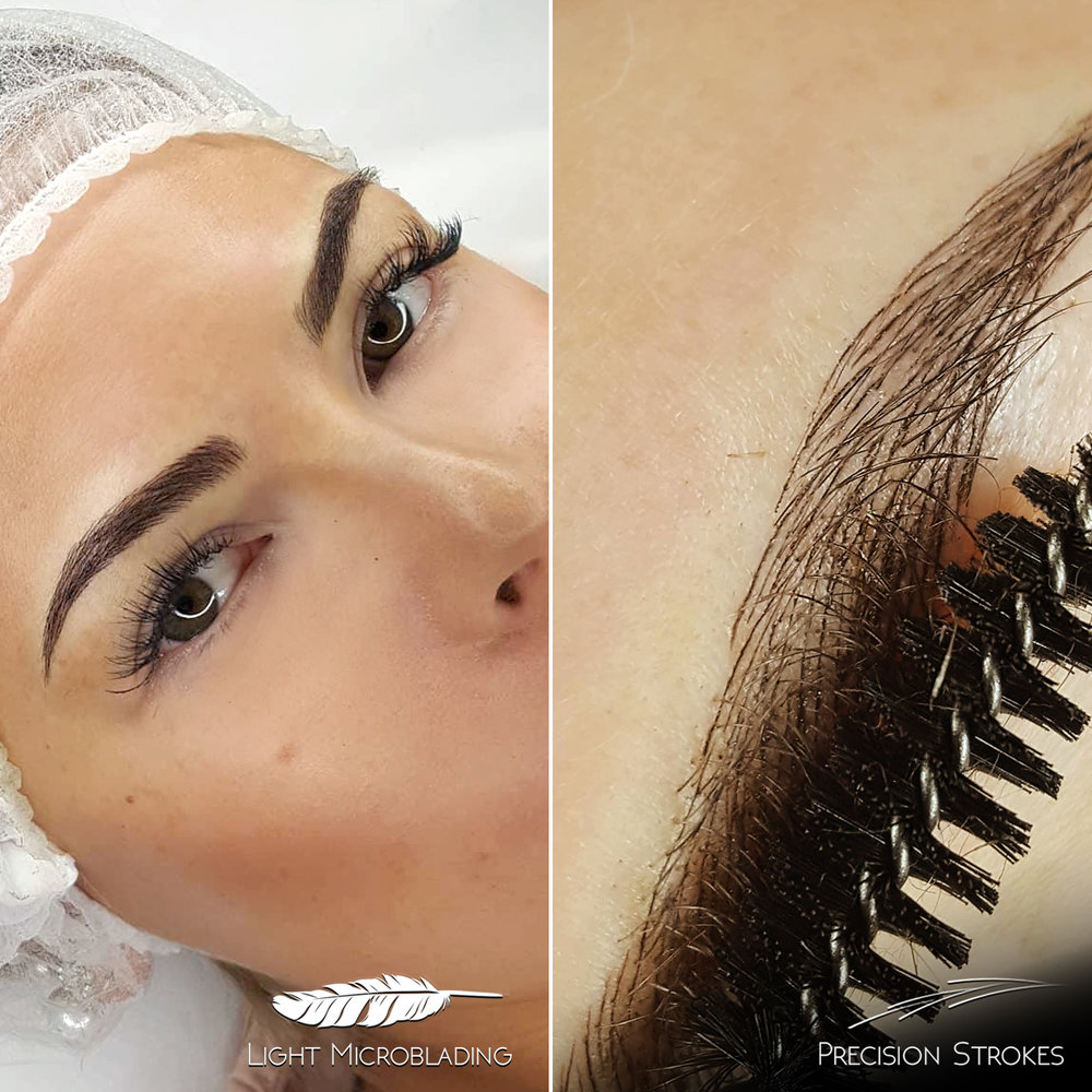 Here you can see Light microblading effect from a typical distance and close-up of the same brow. The result looks very thick and well filled, close-up shows the exact strategy behind it.