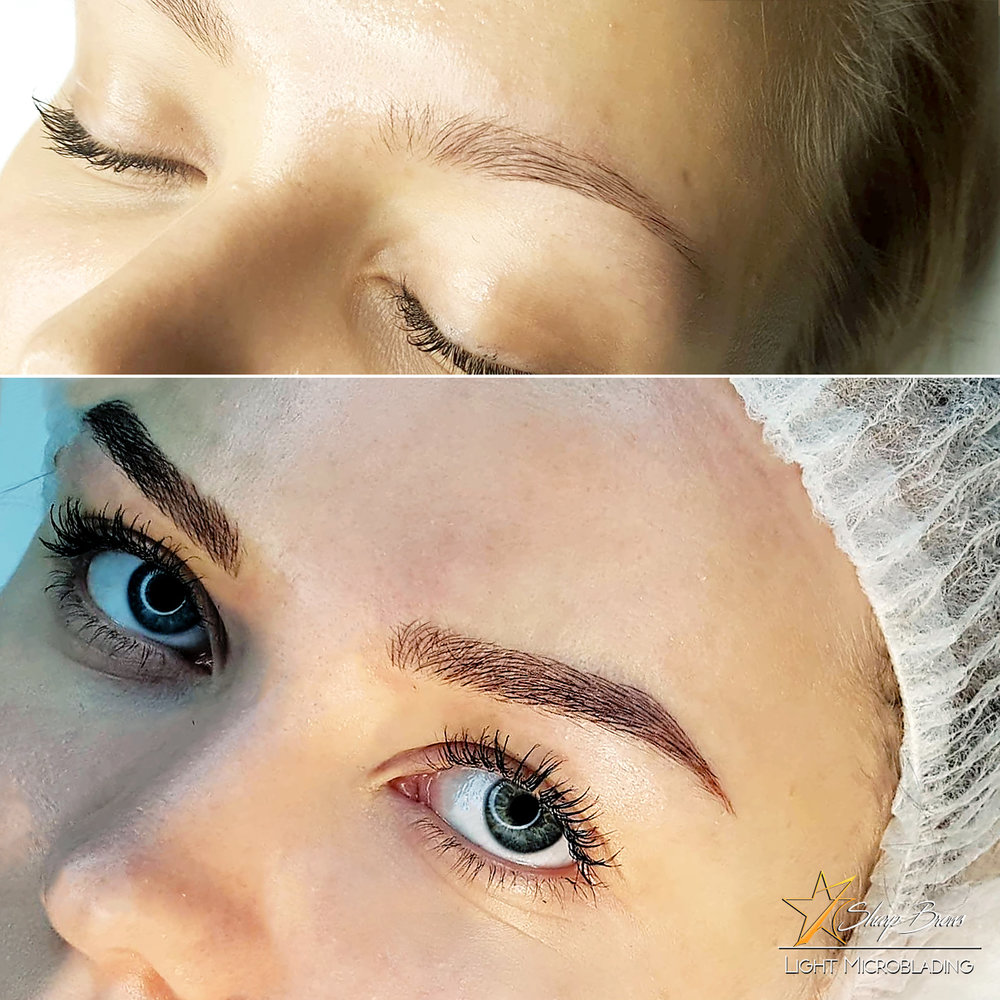 Just a sample of what Light Microblading can do. In this sample everything is changed - the shape of the brow, the colour and of course, the overall expression of the face.