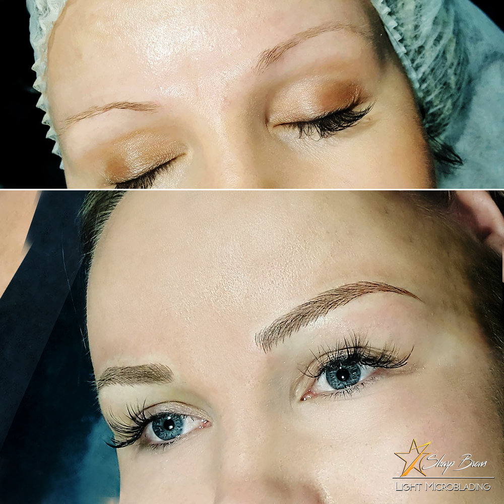 Light microblading.Even the customer herself was really surprised with the results. SharpBrows Light microblading changes the overall expression of the face completely.