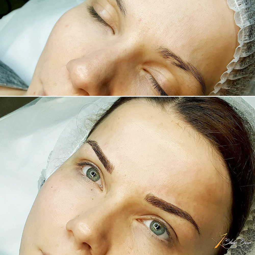 A beautiful sample how a hole in a brow is filled flawlessly with light microblading. Also the shape is changed and to match SharpBrows brow shape.