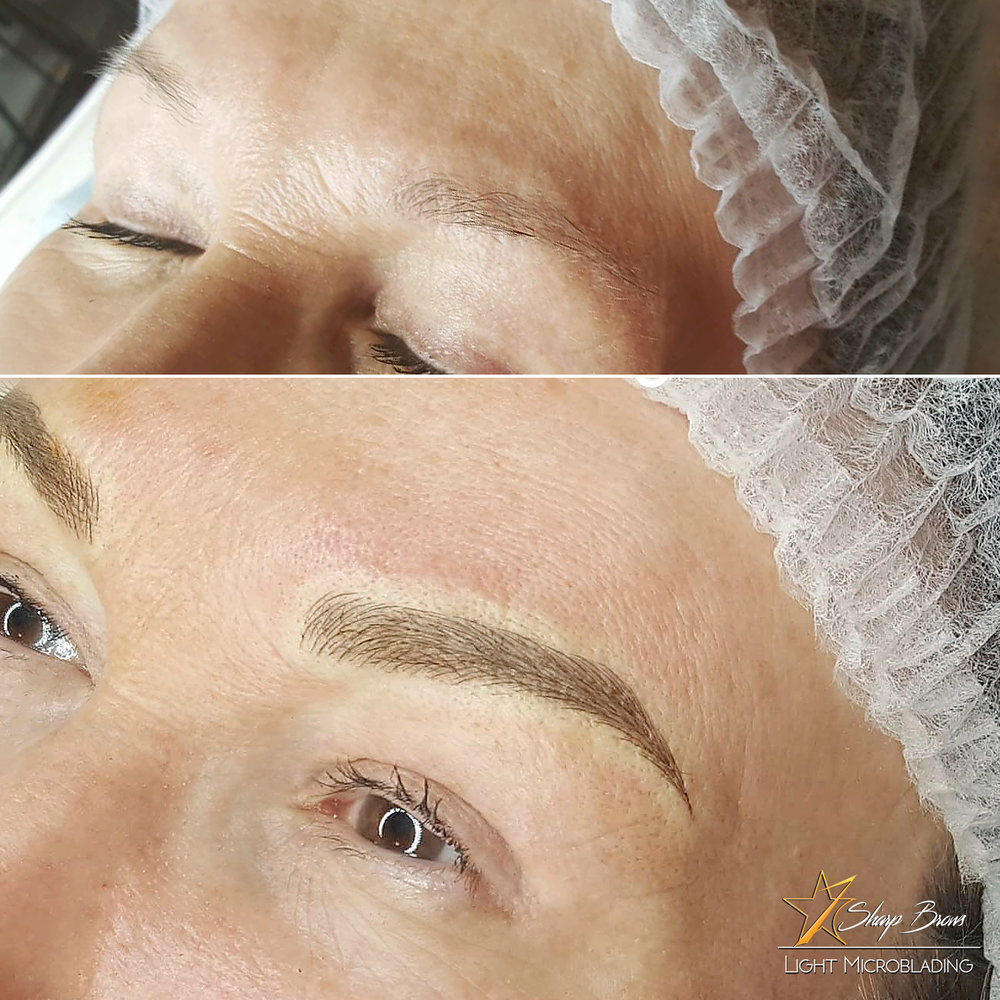Light microblading. Here is a fine example of how correcting brow shape and filling it naturally really enables the client in addition to looking prettier, also to look considerably younger.