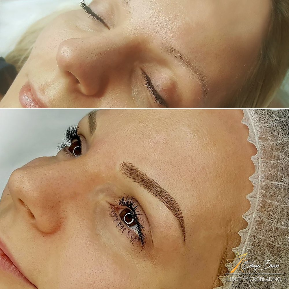 Light microblading. Old and rather unsuccessful pigmentation fixed with absolutely natural looking light microblading.