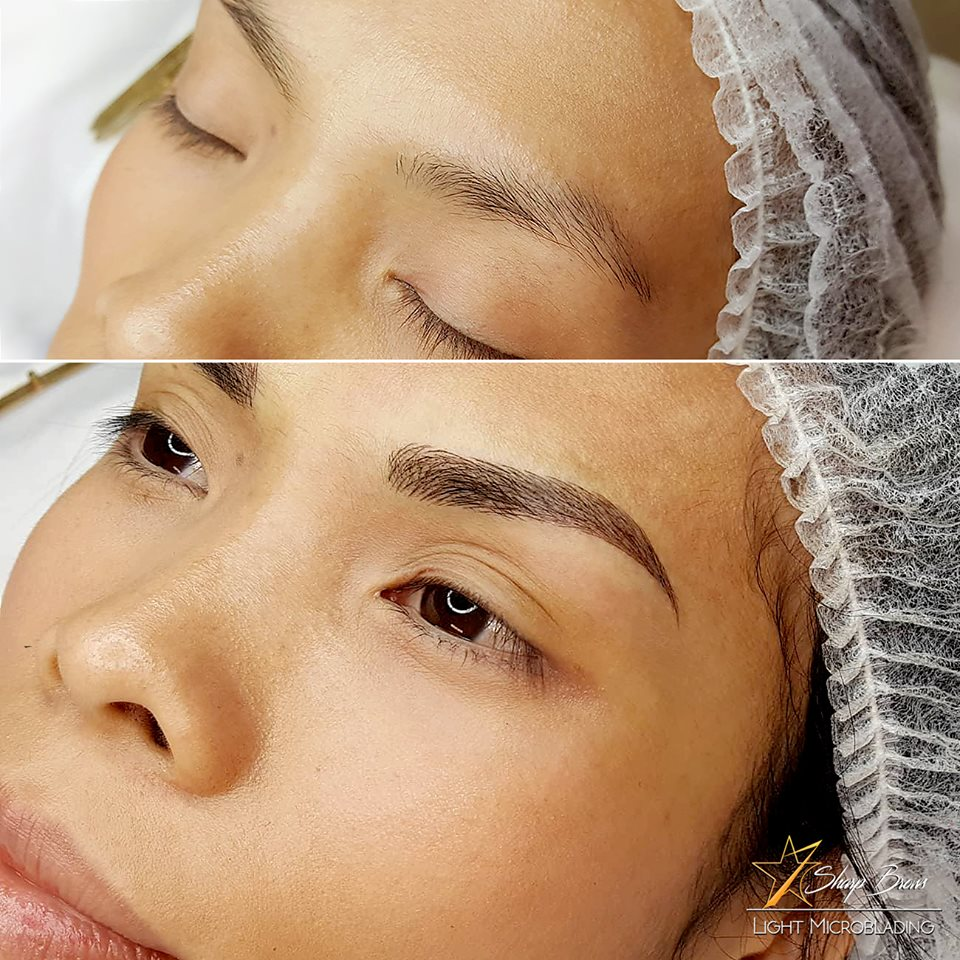 Light microblading. A huge change of everything: attractiveness, facial features, expression etc with SharpBrows Light microblading.