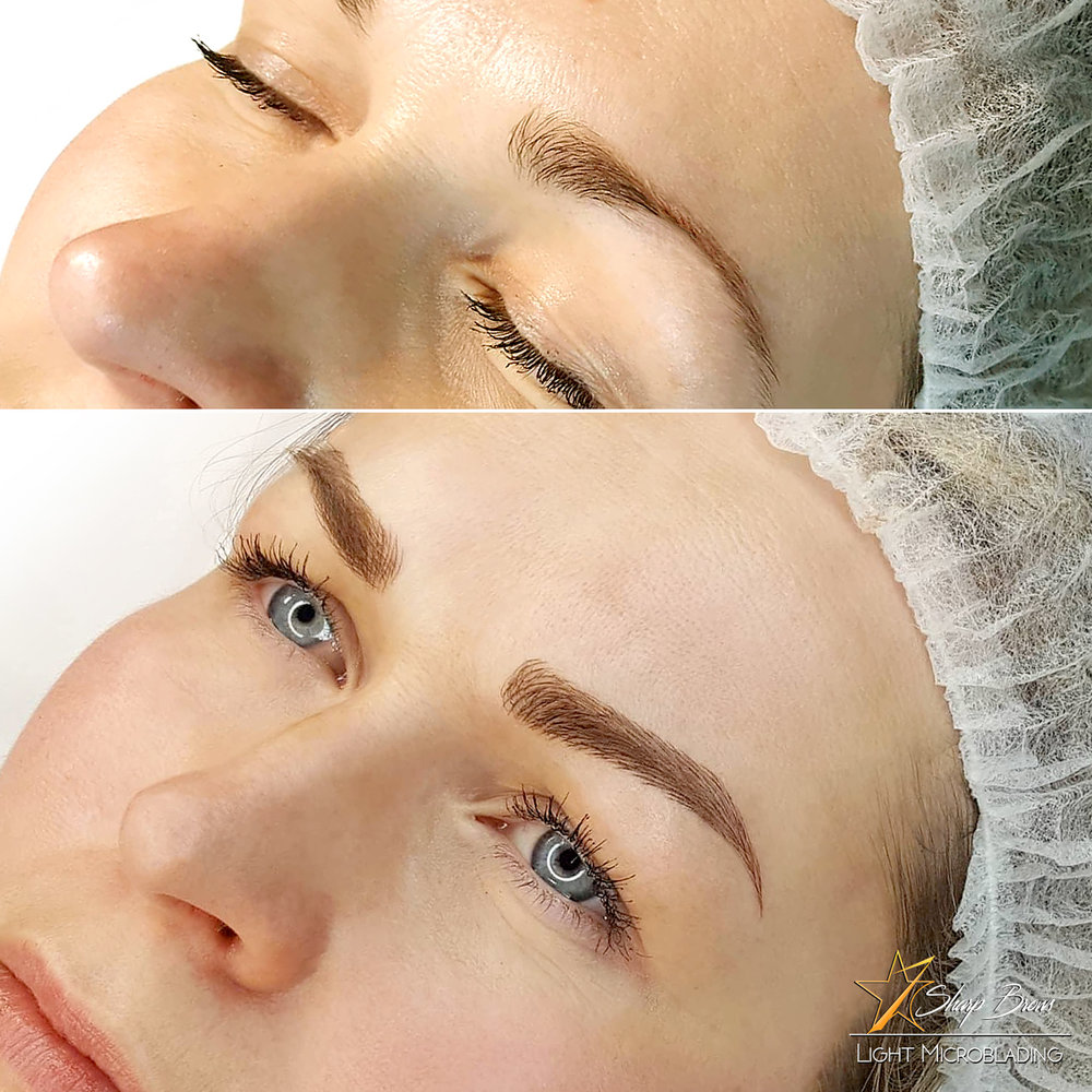 Light microblading. An example how a weak brow is reshaped and filled. As a result it looks natural and attractive.
