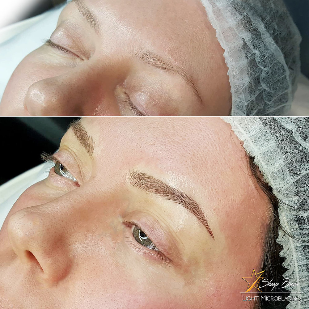 Light microblading. Another . total change. Here we can see how just beautiful brows can change the overall face expression totally.
