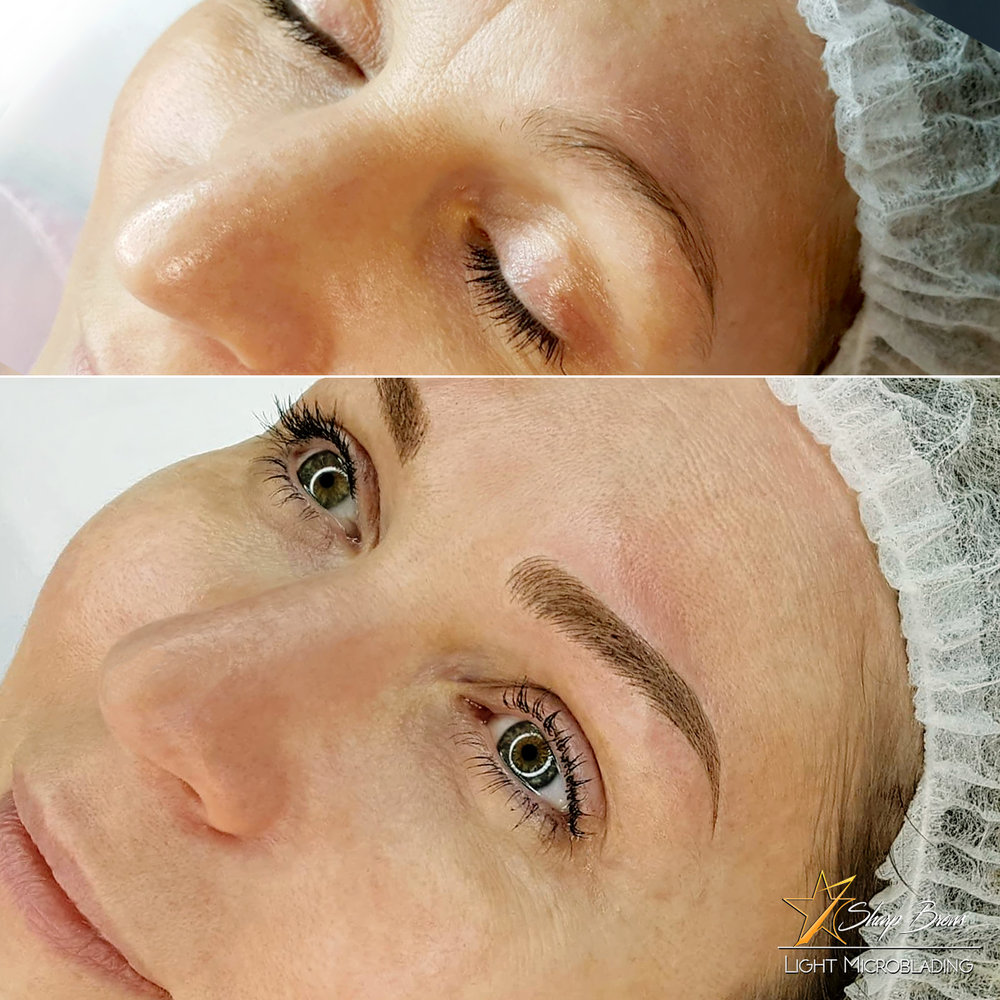 Light microblading. Quite often the client says after the procedure that she feels herself many years younger. Here's an example how brow shape is changed and it's filled naturally with SharpBrows Light Microblading.
