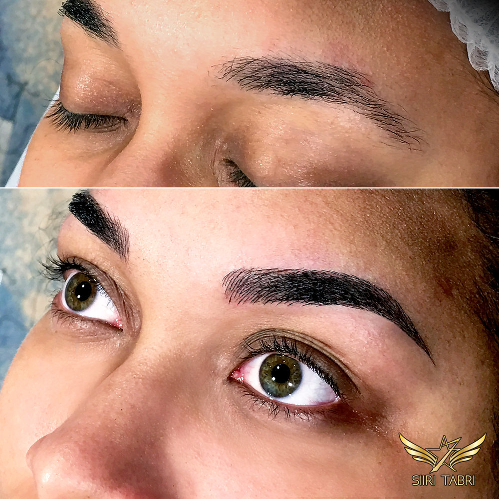 Light microblading. In this case brow shape was also changed drastically.