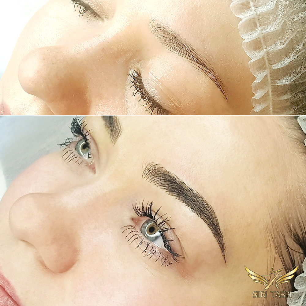 "SharpBrows Light microblading. Initial brow was a bit ""sleepy"" which is very common in Scandinavia. We used Light microblading and reshaped the brows so that the end result gave eyes a little lift."