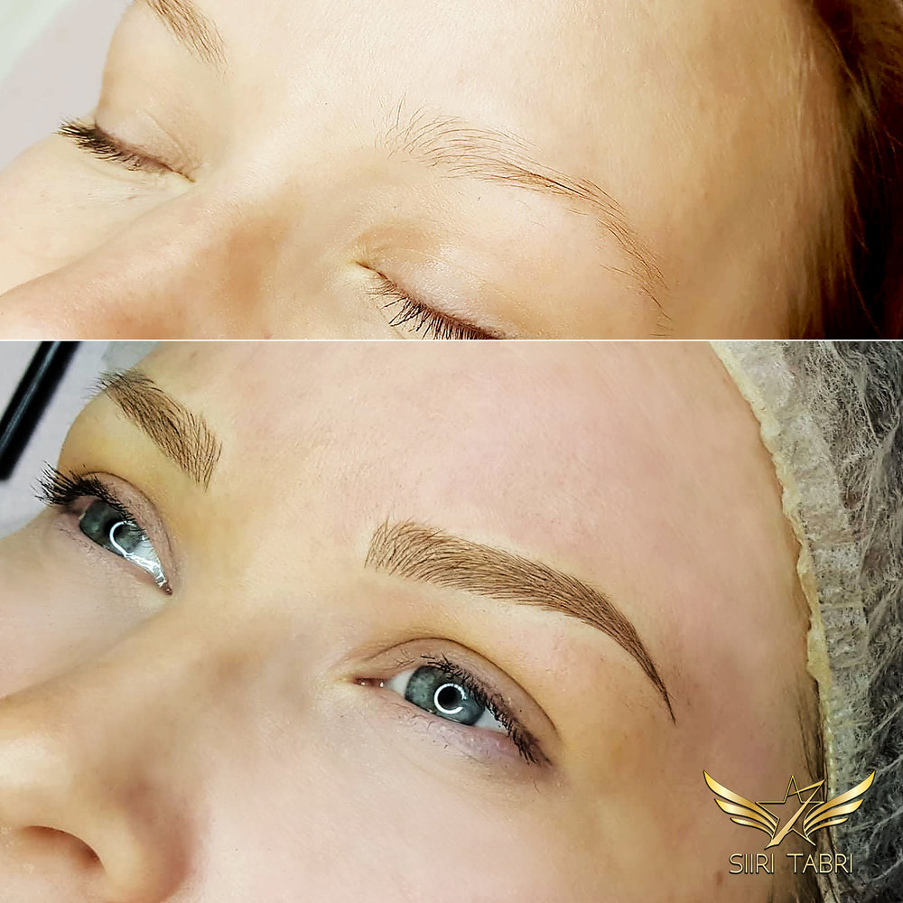 Light microblading. We used a but lighter pigment to achieve incredibly natural results. The change is unbelievable.
