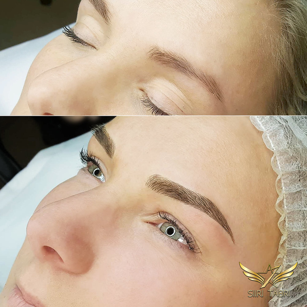 Light microblading. The initial situation was not bad, however the end result looks a lot more lush and totally natural.