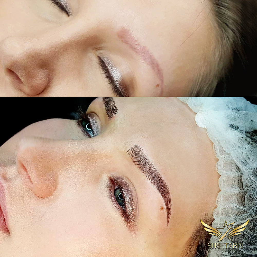 Light microblading. Old pigmentation reshaped and covered with SharpBrows Light microblading with some soft shading added.