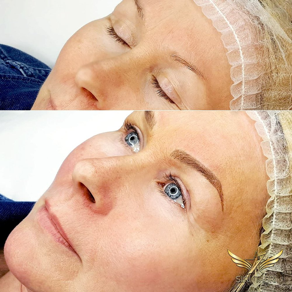 SharpBrows Light microblading. Here's an example how creating microblading the right way really changes the overall appearance also with a bit older clients.