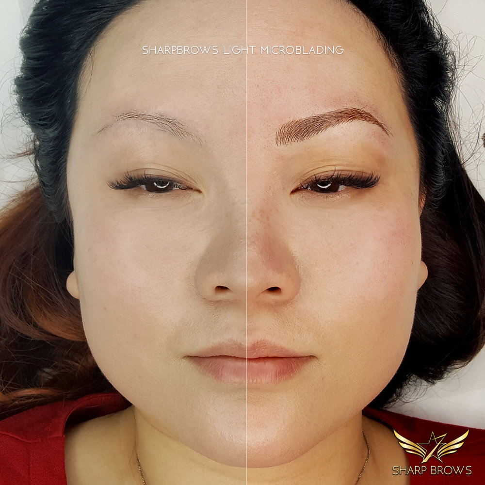 SharpBrows Light microblading. Legendary halfers series: total change with fixed eyebrows.