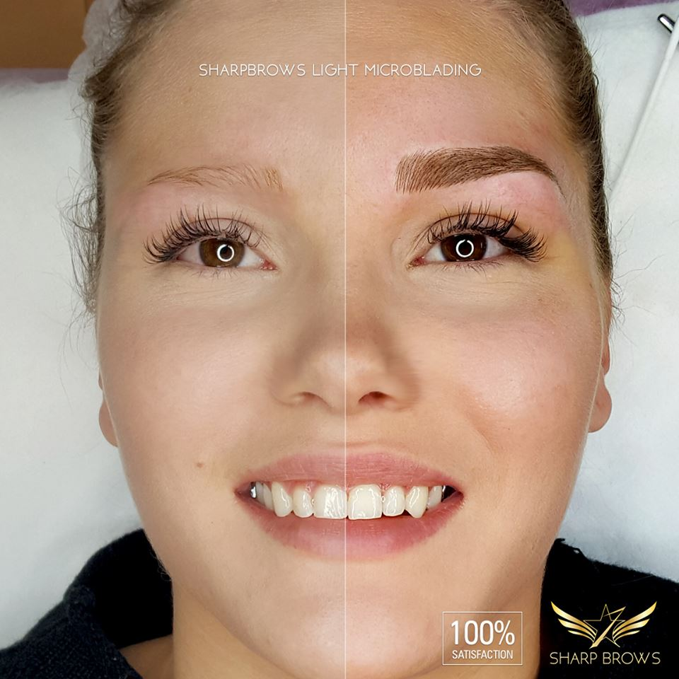 SharpBrows Light microblading - Extreme makeover.Everything was changed with the right kind of microblading technique.
