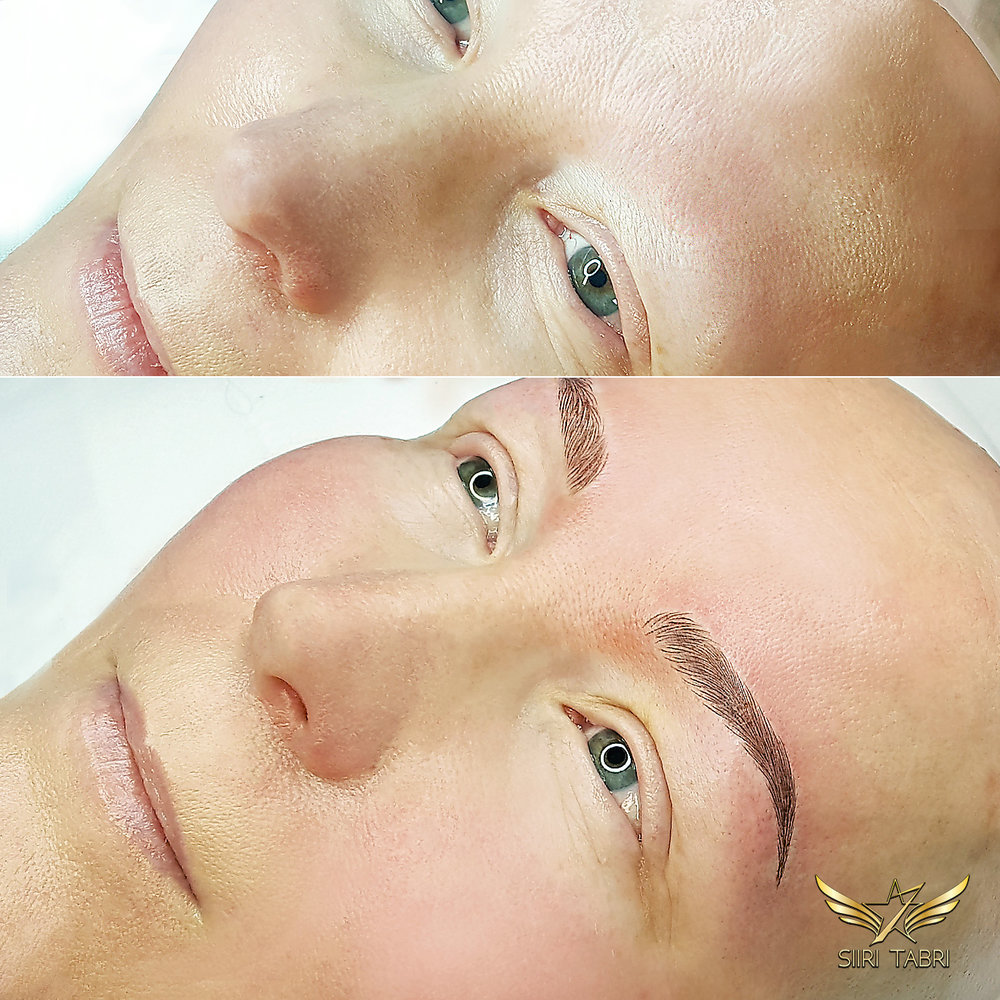 SharpBrows Light microblaing. A fine example how brows are created from absolute zero. A woman suffering from Alopecia got new beautiful brows.