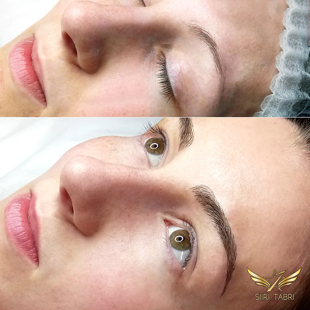 Light microblading - A great example of how the whole face changes with Light microblading.