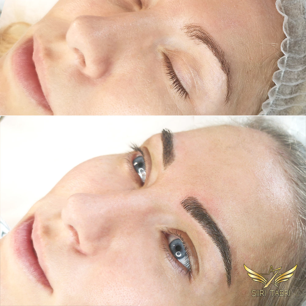 Light microblading + Light Shading. A strangely formed brow turned into a beautiful lush Light microblading + Light Shading brow.