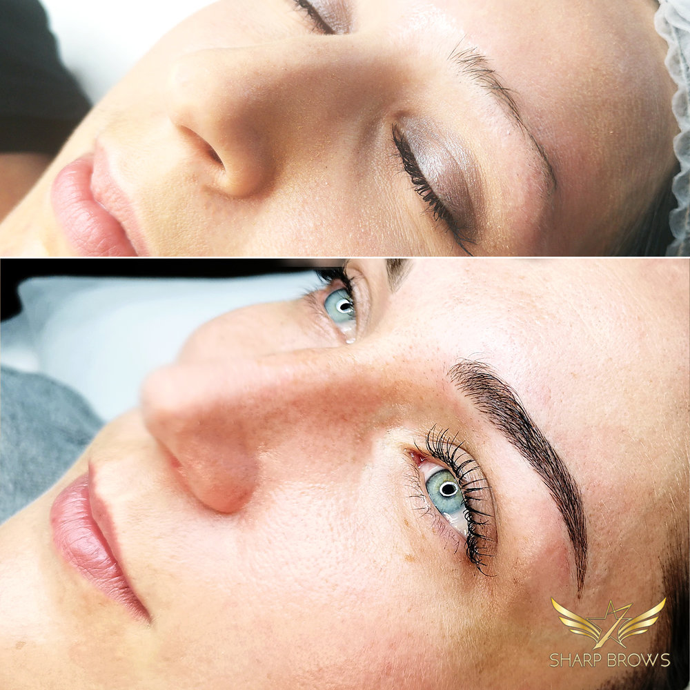 Light microblading - Here's just a sample of how a really thin and weak brow is turned into natural and lush.