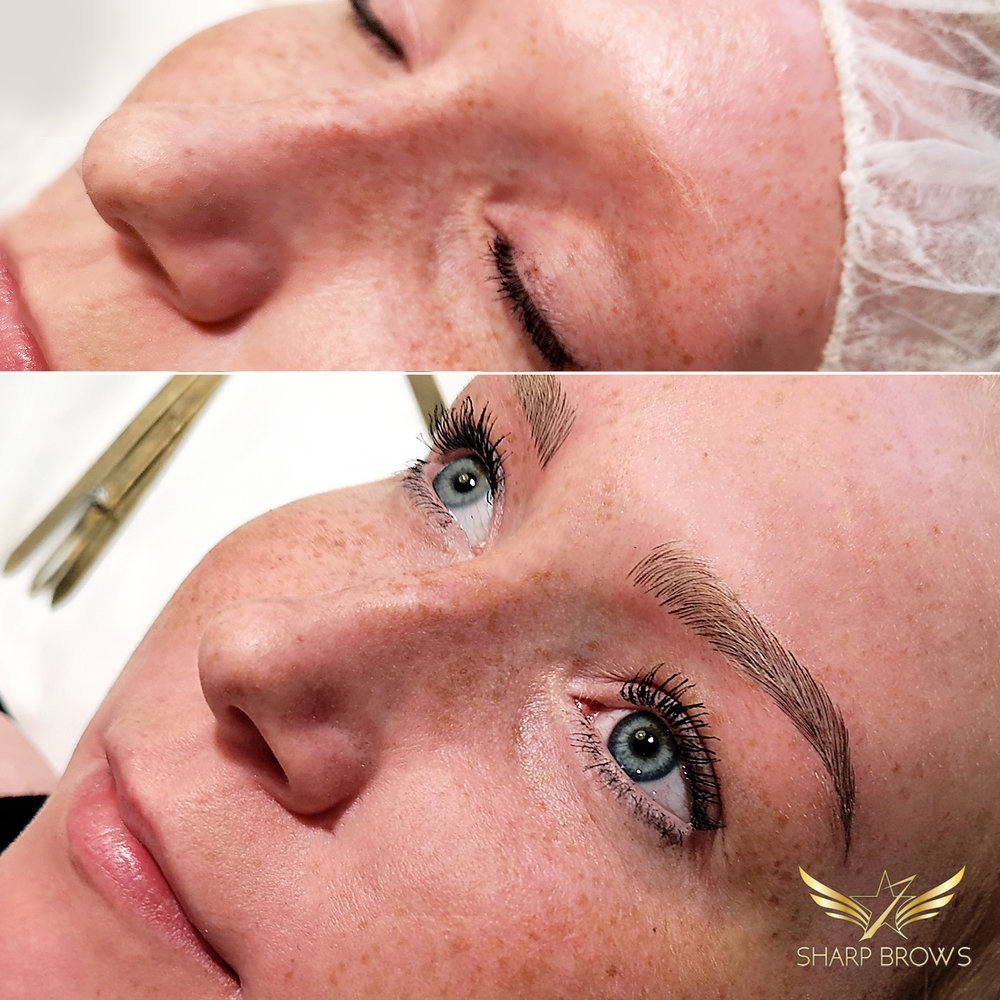 Light microblading. From a situatuon of no brows to a situation of flawless beautiful brows.