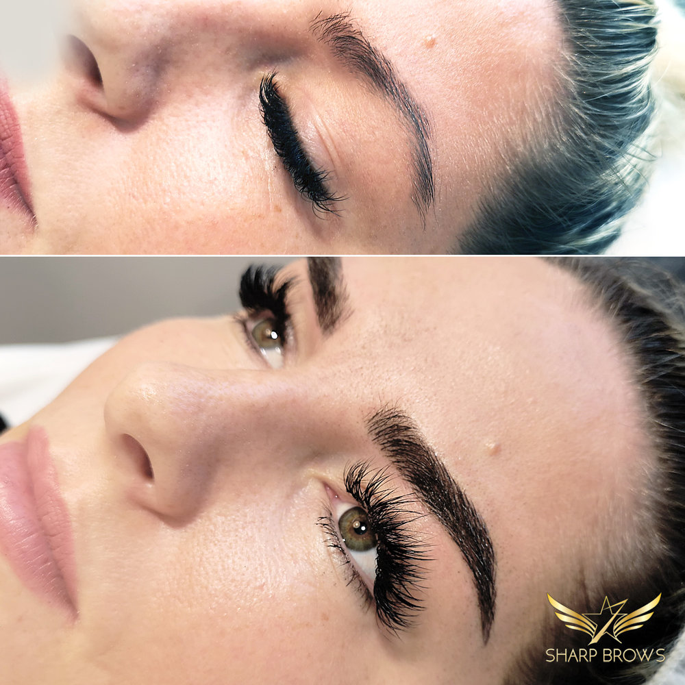 Light microblading - Quite a change when it comes to the brow shape. Also what was before a pretty weak brow is now turned into a lush and beautiful one using Light microblading and some Light shading.