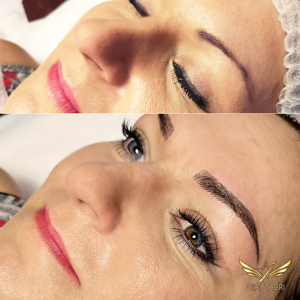 Light microblading. Quite strange pigmentation fixed with Light microblading. The results were much better than we dared to hope for - her overall facial expression changed totally.