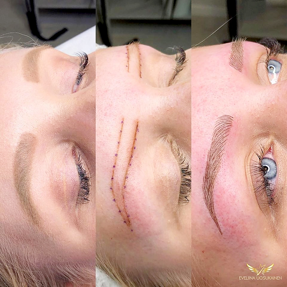 Light microblading. Brows with makeup. Natural. Light microblading.