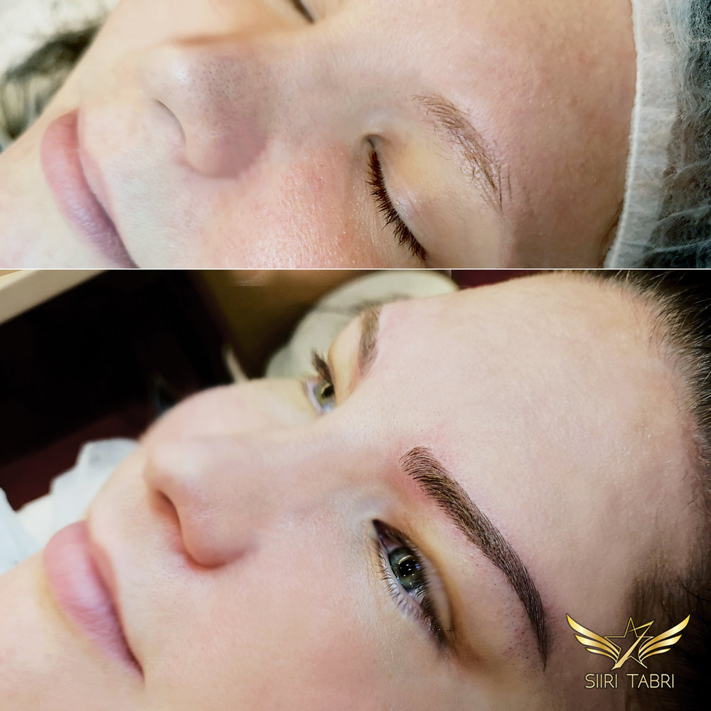 Light microblading. This is just insane how much correct brows can change. Very often original brow is just too tiny and short. Light microblading allows to make huge changes with new natural brows that follow facial features.