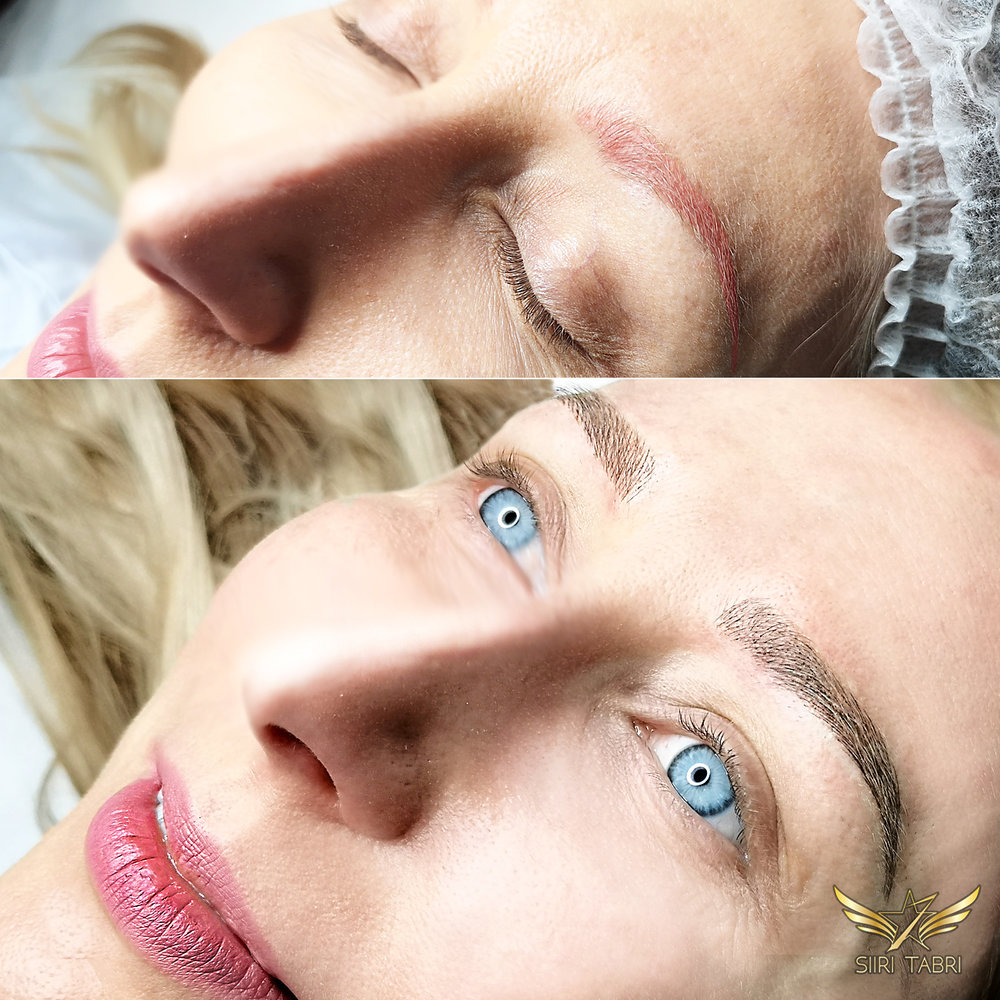 Light microblading. Old pigmentation got fixed with Light microblading.