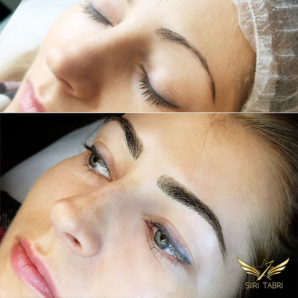 Light microblading. Incredible change. Very weak thin brow became healthy and strong.