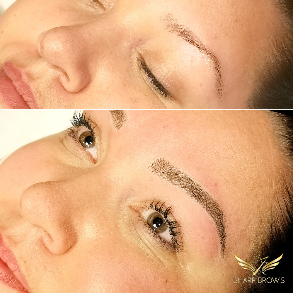 Light microblading. Total reshape and filling. Thin and unfair shape turned into flawless natural brow.