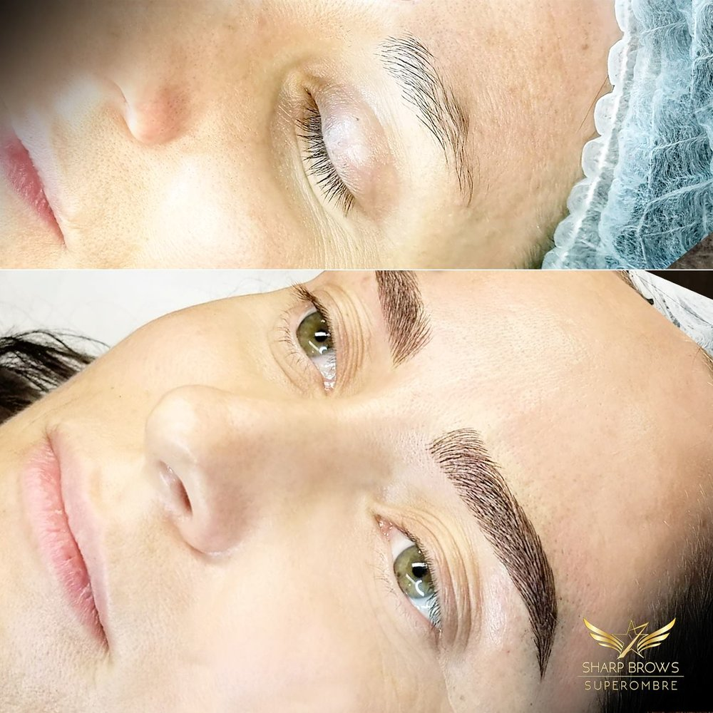 Light microblading - bold change with Light microblading technique.