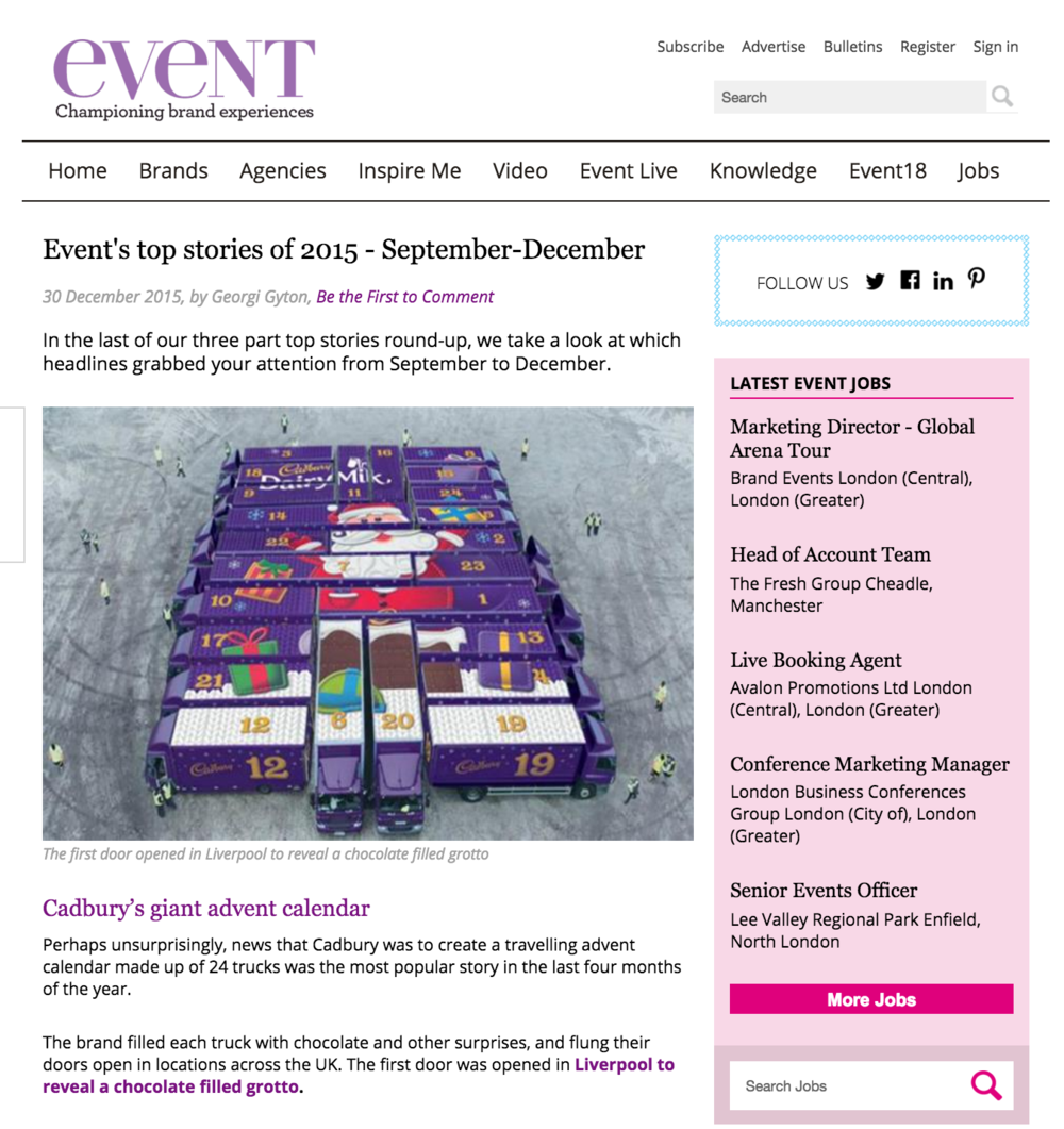 Cadbury's 2015 Christmas campaign mentioned in Events Magazine.