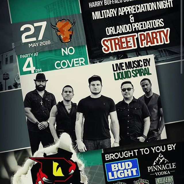Guys and gals... Come and join Us at Harry Buffalo this Friday night. We'll be playing from 10 til 1. So come and grab some food and drinks and listen to some good ol'  music.  #localbands#liquidspiralmusic #harrybuffaloorlando #militaryappreciation#afterparty#livemusic#rock#reggae#blues#jazz#classichits#nocovercharge