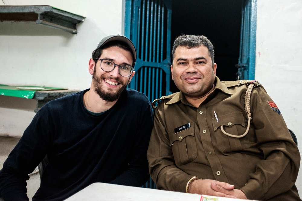 The sergeant and I. He took care of my case. Initially, the police wasn't willing to register my statement, but after a long conversation, we managed to get it done.