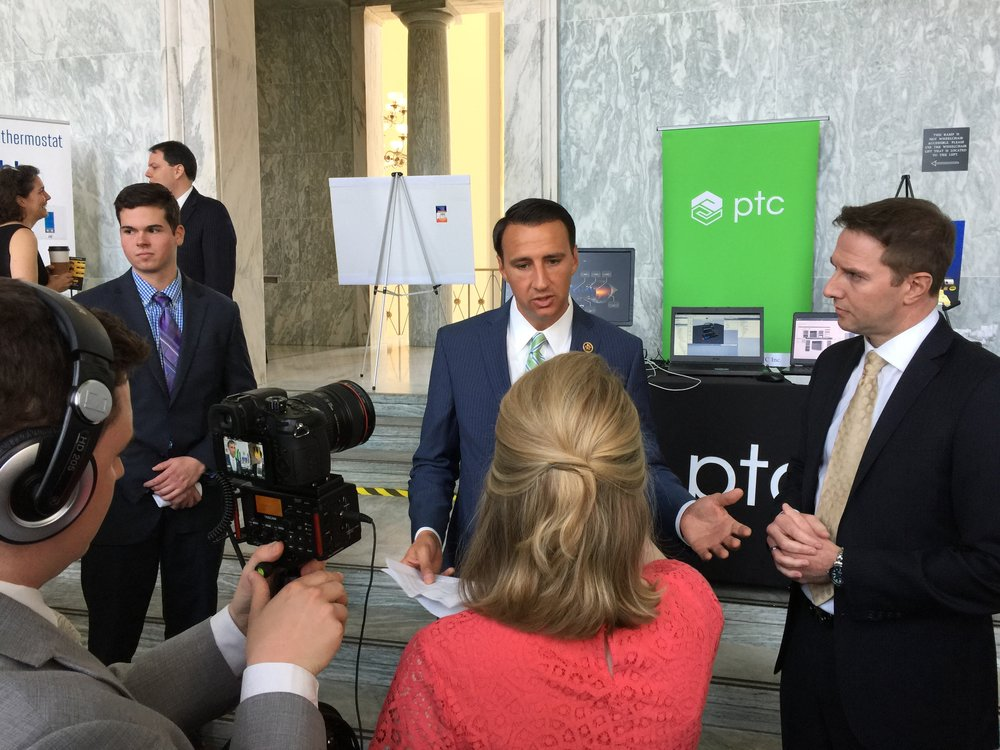 Rep. Ryan Costello (Left) is interviewed at an Internet of Things Showcase on Capitol Hill