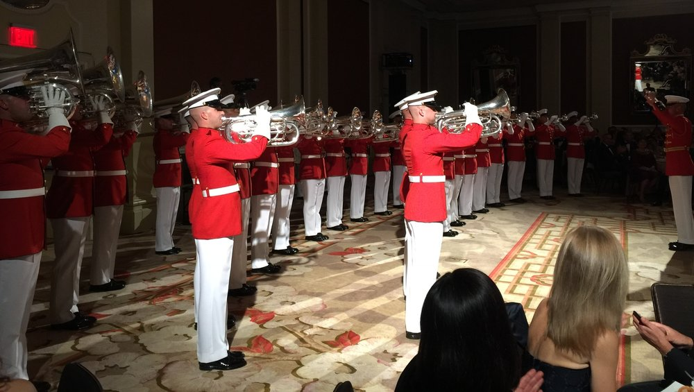 "The US Marine Corps Drum and Bugle Corps, ""The President's Own"" performs Saturday night at the Marine Corps Scholarship Foundation Gala Event."