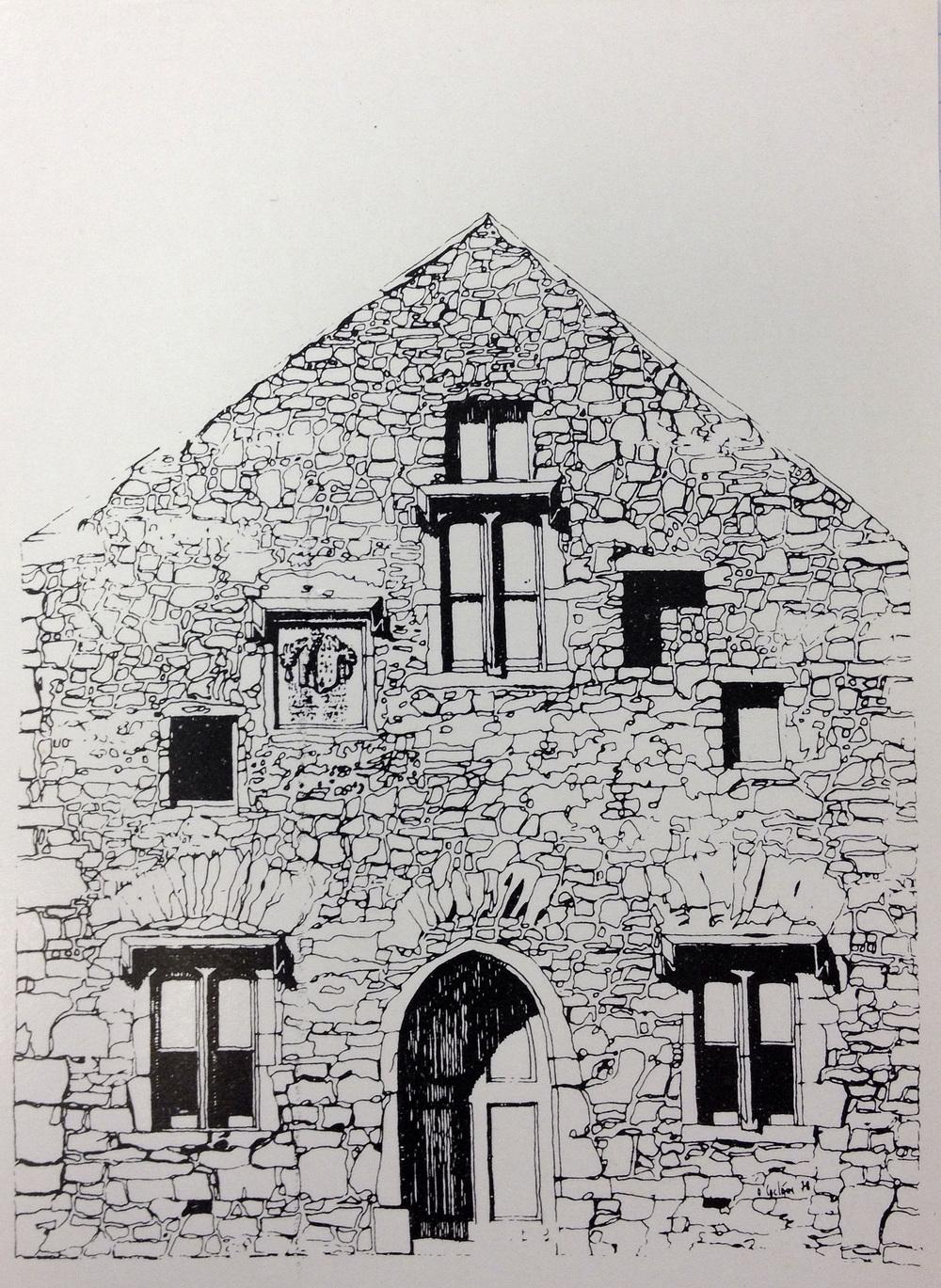 Postcard sketch of Shea Alms House.